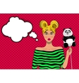 Pretty pop art girl with balloon vector image