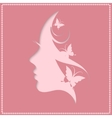 Profile of a beautiful woman on a pink background vector image vector image