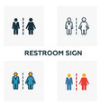 restroom sign icon set four elements in diferent vector image