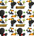 Seamless toucans and wooden log vector image
