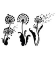 set dandelions with hearts collection of vector image vector image