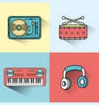 set elements to listen and play music vector image vector image