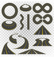 set of asphalt road curves perspectives turns vector image