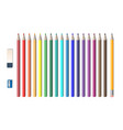 set of colored realistic pencils with sharpener vector image vector image