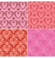Set of valentine hearts seamless patterns vector image