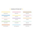 sewing stitch line set - colorful embroidery vector image