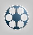 soccer ball sign blue icon with outline vector image vector image