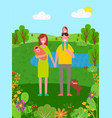 summer vacation father and mother with child vector image vector image