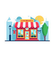 supermarket shop building in modern city street vector image vector image