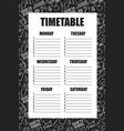 timetable for schools lessons with backpack vector image vector image