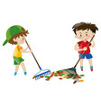 two boy sweeping leaves with rakes vector image vector image