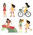 various summer active recreations set with young vector image vector image
