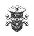 vintage bearded and mustached skull vector image vector image