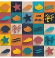 vintage seashell flat card vector image