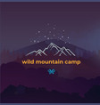 wild mountain camping and adventure forest badge vector image vector image