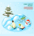winter holidays game outdoors composition vector image