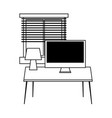workspace table computer lamp and window isolated vector image
