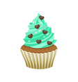 yummy sweet cupcake with cream color vector image