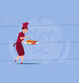 female chef cook holding tray with lobster cartoon vector image