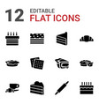 12 pastry icons vector image vector image
