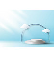 3d realistic empty white round pedestal mockup vector image vector image