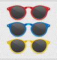 3d realistic plastic red blue and yellow vector image