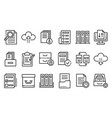 archive icons set outline style vector image vector image