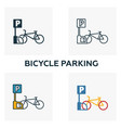 bicycle parking outline icon thin style design vector image vector image