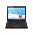 black laptop with christmas vector image vector image