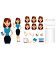 business woman cartoon character creation set vector image vector image