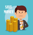 businessman with save money icons vector image