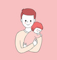 cartoon cute father and daughter vector image vector image