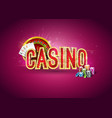 casino with roulette wheel poker vector image vector image