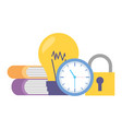 clock bulb books security vector image vector image