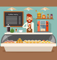 coffee shop interior seller bakery taste sweets vector image vector image
