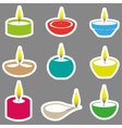color diwali candles with flame stickers set eps10 vector image vector image