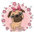 cute puppy girl with flowers on a pink background vector image