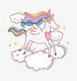 cute unicorn with winds and clouds with stars vector image vector image
