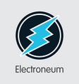 electroneum - cryptocurrency colored logo vector image vector image