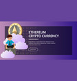 ethereum crypto currency poster vector image vector image