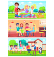 family eats together out of home set vector image