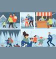 family winter holidays activities outdoors vector image vector image