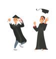 flat boys graduate in gown cap vector image vector image