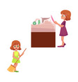flat children making housework vector image vector image