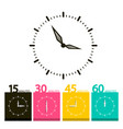 flat clock symbol time icons with 15 30 45 and 60 vector image vector image