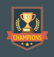gold champions cup with ribbon vector image vector image