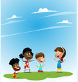 group of children playing guessing game vector image