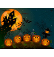 Halloween pumpkins at night vector image