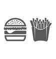 Hamburger and fries icons vector image vector image