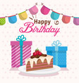 happy birthday cake portion with gifts vector image